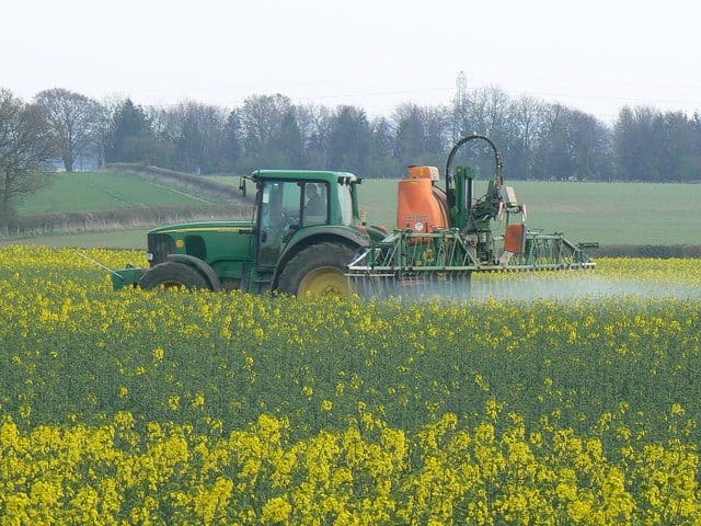 Crop spraying near St Mary Bourne
