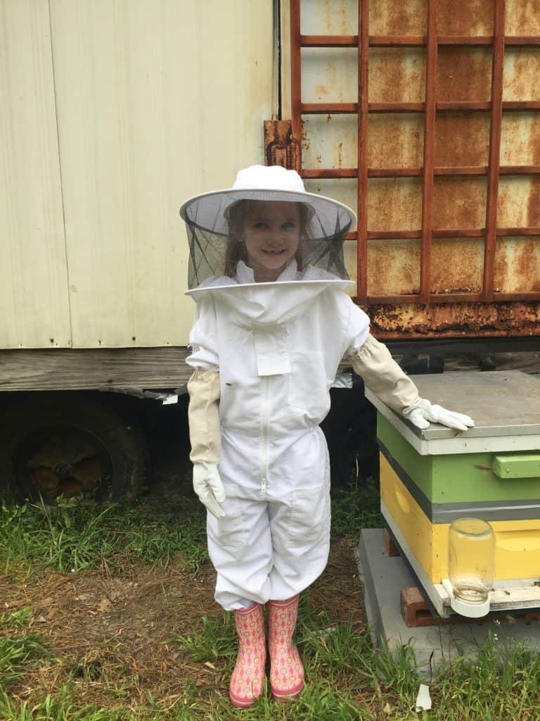 Lizzie, a proud beekeeper